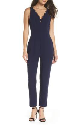 Adelyn Rae Scallop Neck Jumpsuit