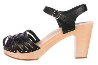 Swedish Hasbeens Leather Ankle-Strap Sandals