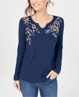 Style&Co. Style & Co Cotton Embroidered Thermal Top