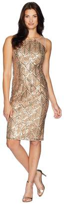 Adrianna Papell Stretch Sequin Cocktail Dress with Illusion Shoulders Women's Dress