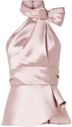 Brandon Maxwell - Bow-embellished Satin-twill Halterneck Top - Blush