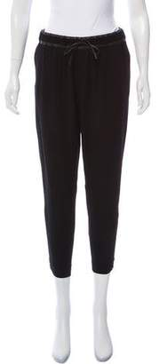 Helmut Lang High-Rise Leather-Trimmed Joggers