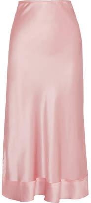 Lee Mathews - Stella Silk-satin Midi Skirt - Blush