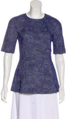 Lela Rose Short Sleeve Peplum Top