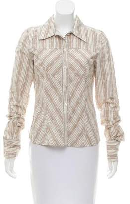 Christian Dior Striped Button-Up Top