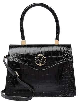 Mario Valentino Valentino By Melanie Croc-Embossed Leather Satchel