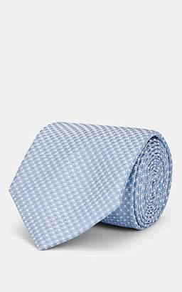 Brioni Men's Mini-Dot-Grid Silk Satin Necktie - Lt. Blue