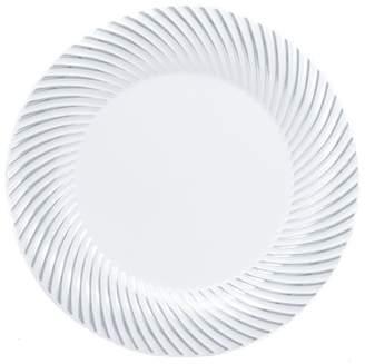 "Kaya Collection - Disposable White with Silver Swirl Rim Plastic Round 7.5"" Salad/Dessert Plates (20 Plates)"