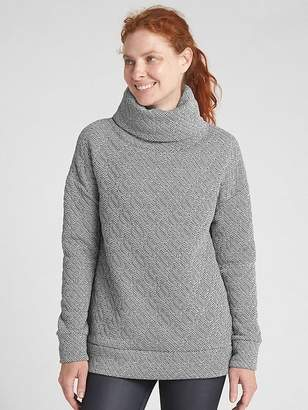 Gap GapFit Jacquard Knit Funnel-Neck Pullover Sweatshirt