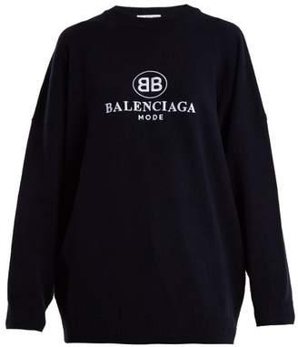 Balenciaga - Embroidery Top - Womens - Navy
