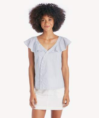 Sole Society Asymmetrical Buttonfront Blouse w/ Ruffle