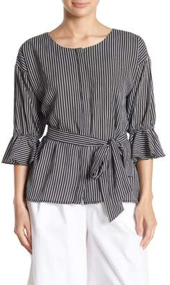 J.o.a. Striped Tie Waist Top