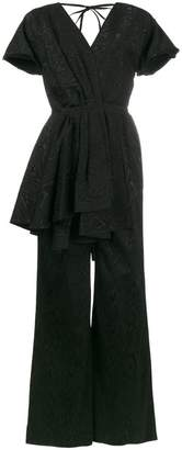 Rosie Assoulin V neck draped moire jumpsuit