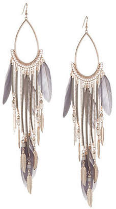 DESIGN LAB Teardrop Outline Feather Drop Earrings