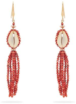 Isabel Marant Bead-embellished shell earrings