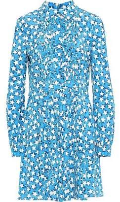 Valentino Pleated Printed Silk-crepe Mini Shirt Dress