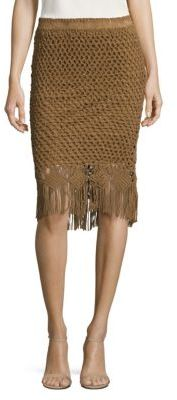 Polo Ralph Lauren Fringe Crocheted Suede Skirt $998 thestylecure.com