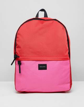 Asos DESIGN Backpack In Pink And Red Color Block