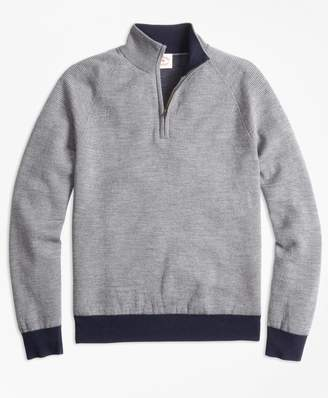 Brooks Brothers Bird's-Eye Merino Wool Jacquard Half-Zip Sweater