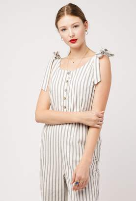 Azalea Shoulder Tie Stripe Jumpsuit