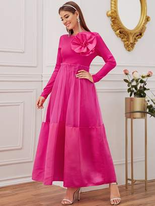 Shein Exaggerated Ruffle Overlay Mesh Maxi Dress