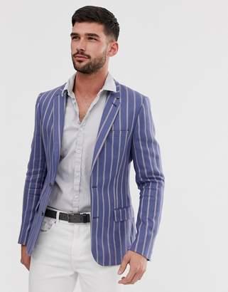 Asos Design DESIGN skinny linen blazer in blue stripe