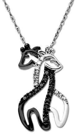 Lord & Taylor 14Kt. White Gold Necklace with Black & Clear Diamond Giraffe Pendant
