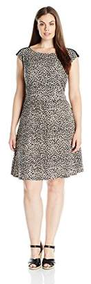 Connected Apparel Women's Plus-Size Animal Print Jersey Short Full Dress,18W