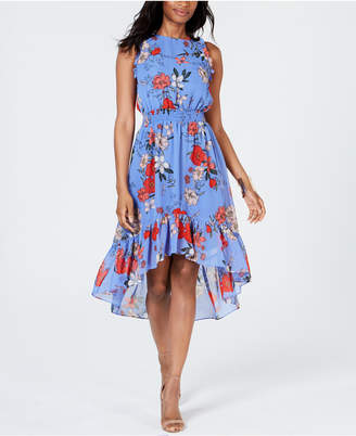 Vince Camuto Petite Ruffled Floral High-Low Dress