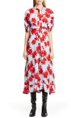 Proenza Schouler Floral Tie Neck Georgette Midi Dress