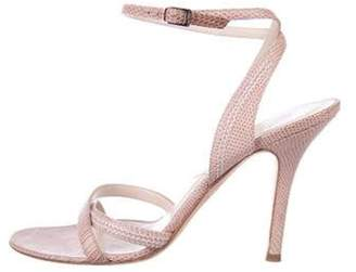 Christian Dior Lizard Ankle Strap Sandals Pink Lizard Ankle Strap Sandals