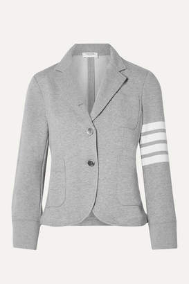 Thom Browne Striped Cotton-jersey Blazer - Light gray