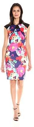 Sangria Women's Cap Sleeve Floral Print Midi Sheath Dress