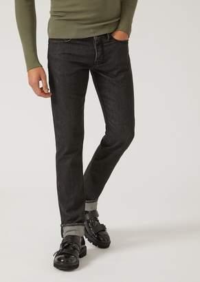 Emporio Armani J00 Slim Fit Jeans In Stretch Denim With Studded Logo