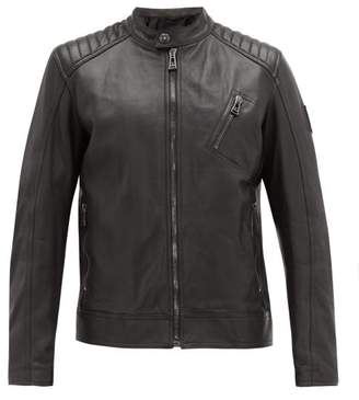 Belstaff Racer Leather Jacket - Mens - Grey
