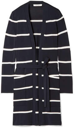 Max Mara Striped Stretch-knit Cardigan - Navy