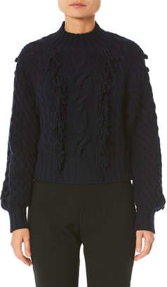 Carolina Herrera Hand-Fringed Cable-Knit Sweater