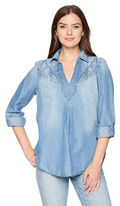Bandolino Women's Franny Pull Over Shirt with Roll Sleeves
