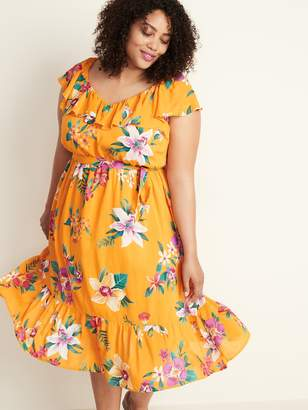 Old Navy Tie-Belt Plus-Size Ruffle-Trim Midi Dress