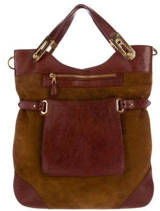 Balenciaga  Balenciaga Leather-Trimmed Suede Satchel
