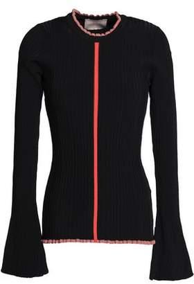 Roksanda Ruffle-Trimmed Ribbed-Knit Sweater
