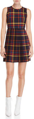 Made In Italy Plaid Pleated Skirt Mini Dress