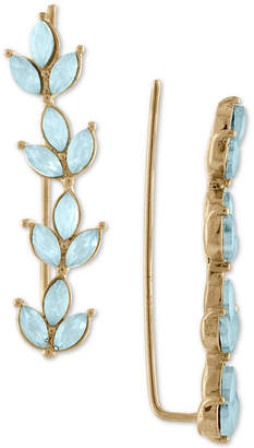 Rachel Roy Gold-Tone Colored Stone Leaf Climber Earrings