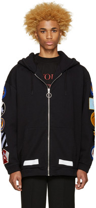 Off-White Black Patches Hoodie $570 thestylecure.com
