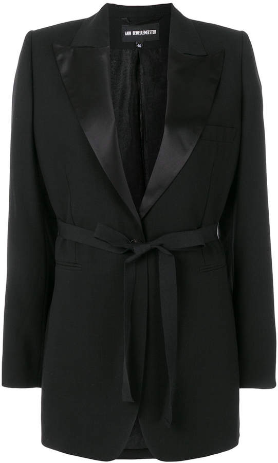 belted single-breasted blazer