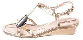 Prada Sport Metallic Wedge Sandals