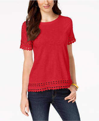 Charter Club Petite Cotton Crochet-Trim T-Shirt
