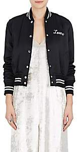 "Amiri Women's ""Lovers"" Silk Satin Baseball Jacket-Black"