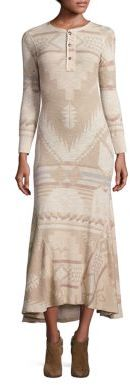 Polo Ralph Lauren Cotton Printed Henley Maxi Dress $198 thestylecure.com