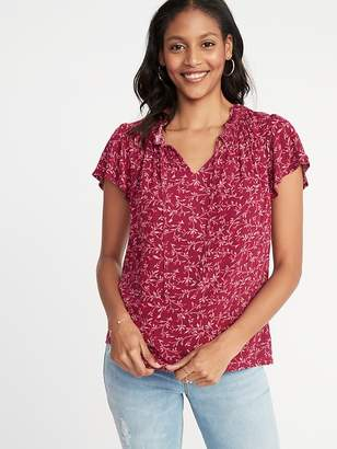 Old Navy Ruffled Tie-Neck Floral-Print Blouse for Women